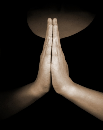17607982 - praying hands on black background