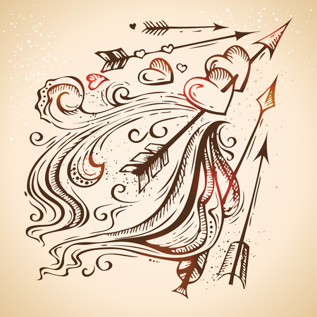 50177160 - hand-drawn vintage heart sketch. retro valentine's illustration.