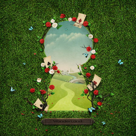 60432067 - beautiful green background with roses in keyhole.