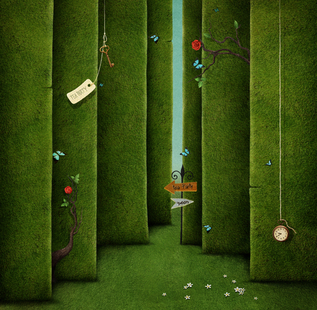 62627736 - conceptual illustration of green maze and fantasy objects