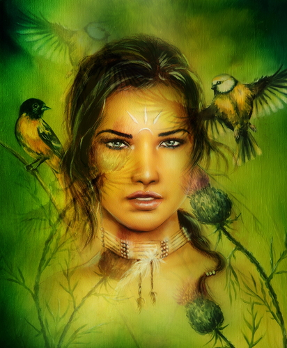 portrait of a young enchanting woman face with birds, on green p