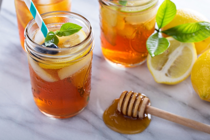 Homemade honey iced tea