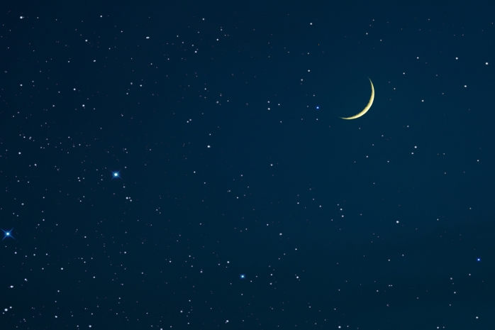 new moon and stars