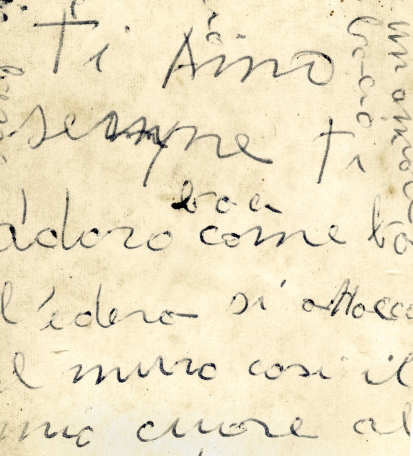 Close up of old italian letter